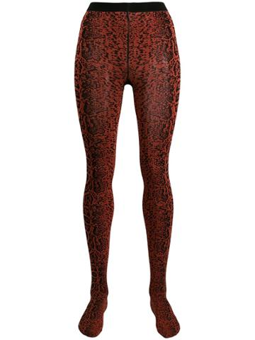 Wolford Blotched Snake Tights - Red
