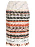 Coohem Striped Pencil Skirt - White