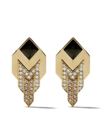 Fairfax & Roberts 18kt Yellow Gold Art Deco Diamond And Onxy Stud