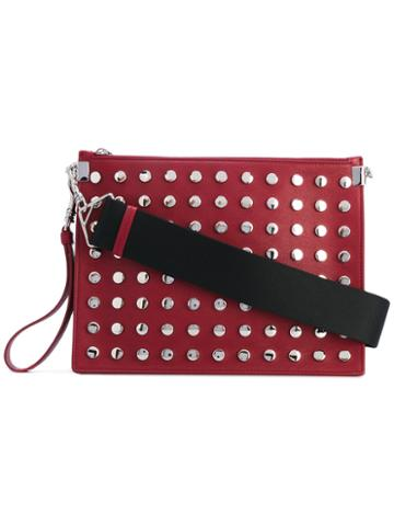 Versace - Large Studded Clutch Bag - Women - Calf Leather - One Size, Red, Calf Leather