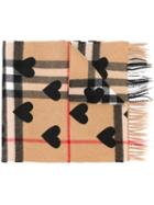 Burberry Printed Heart Checked Scarf
