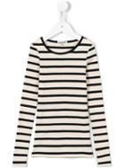Les Coyotes De Paris - Breton Stripe Ribbed Top - Kids - Cotton - 6 Yrs, Nude/neutrals
