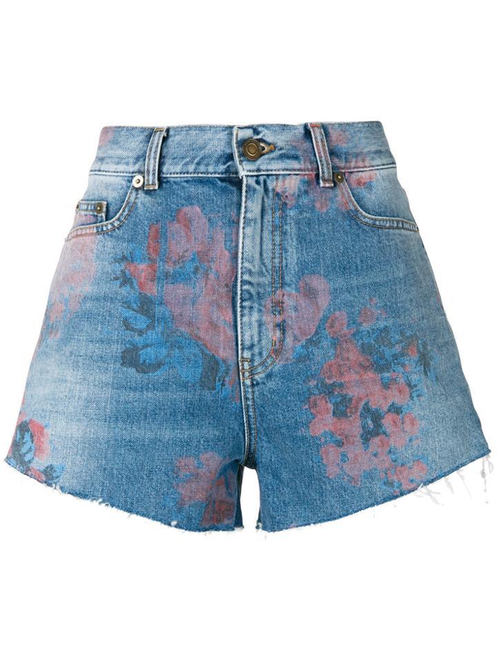 Saint Laurent Floral Print Denim Shorts - Blue