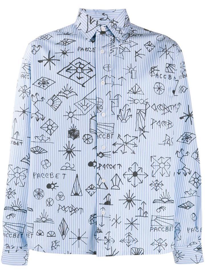 Rassvet Hand Drawing Print Shirt - Blue