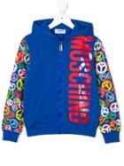 Moschino Kids Teen Peace Logo Print Hoodie - Blue