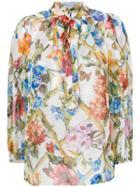Dolce & Gabbana Floral Print Sheer Blouse - White