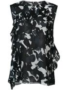 Jason Wu Ruffle Floral Tank Top - Black
