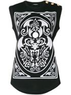 Balmain Button Embellished T-shirt - Black