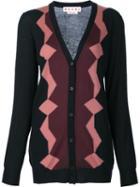 Marni Geometric Pattern Cardigan, Women's, Size: 42, Black, Wool