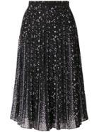 Michael Michael Kors Embroidered Pleated Skirt - Black