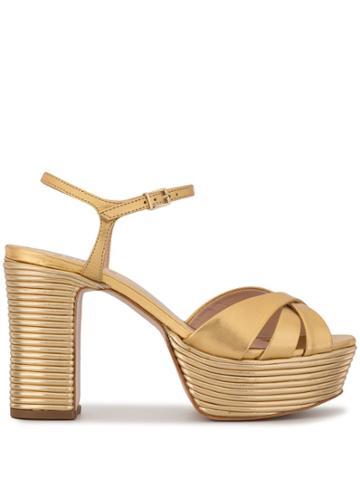 Schutz Metallic Platform Sandals - Gold