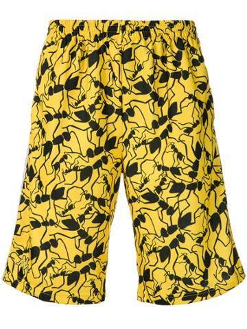 Kappa Print Track Shorts - Yellow & Orange