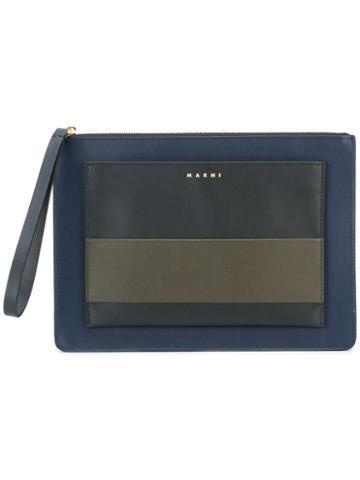 Marni Colour Block Clutch, Women's, Blue, Calf Leather