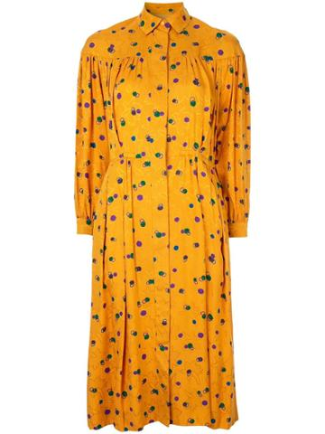 Christian Dior Vintage Dotted Print Shirt Dress - Yellow