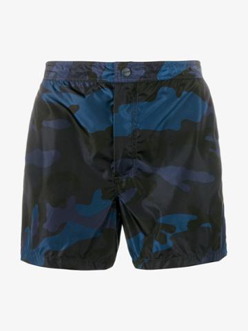 Valentino Camo-print Swimming Trunks, Men's, Size: 54, Blue, Polyamide/polyester