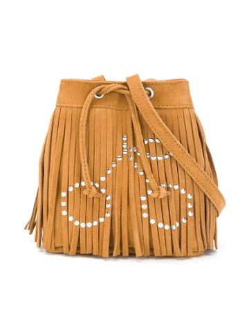 Bonpoint Embellished Fringe Bucket Bag - Brown