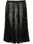 Khaite Polka Dot Pleated Silk Skirt - Black