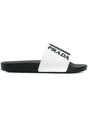 Prada Logo Embossed Flat Slides - White