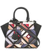 Fendi Mini '3jours' Printed Tote Bag, Women's, Black, Leather