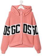 Gcds Kids Teen Hooded Logo Cardigan - Pink