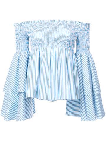 Caroline Constas - Off-shoulders Flared Sleeves Blouse - Women - Cotton - L, Blue, Cotton