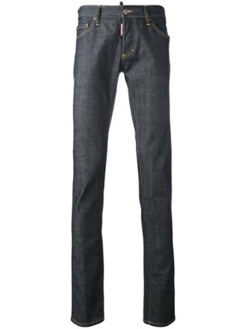 Dsquared2 - Slim Jeans - Men - Cotton/calf Leather/polyester/spandex/elastane - 44, Blue, Cotton/calf Leather/polyester/spandex/elastane