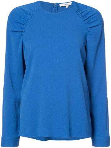 Tibi Ruched Shoulders Sweatshirt - Blue