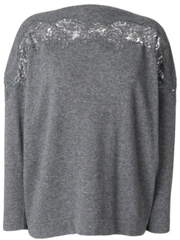 Ermanno Scervino - Lace Trim Sweater - Women - Wool/cashmere - 42, Grey, Wool/cashmere