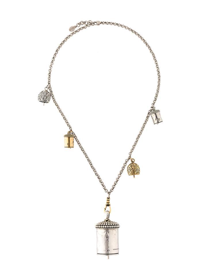 Alexander Mcqueen Double Chain Necklace - Grey