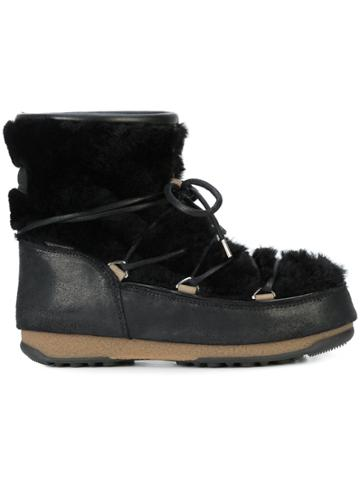 Moon Boot Low Shearling Boots - Black