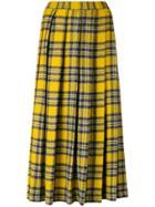 Aspesi Pleated Plaid Midi Skirt - Yellow & Orange