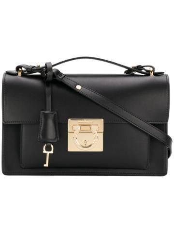 Salvatore Ferragamo - Gancio Lock Shoulder Bag - Women - Leather - One Size, Black, Leather