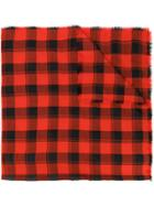 Saint Laurent Check Scarf - Red