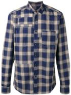 Lanvin Topstitched Patchwork Checked Shirt - Blue