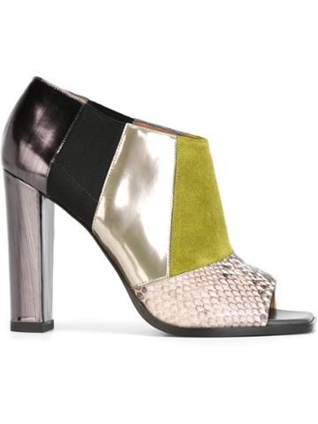 Pollini Patchwork Open Toe Booties