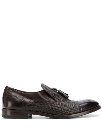 Henderson Baracco Textured Fringe Loafers - Brown