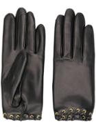 Agnelle Rivet Leather Gloves - Black