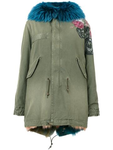 Mr & Mrs Italy - Embroidered Parka Jacket - Women - Cotton/fox Fur/lamb Skin/racoon Fur - S, Green, Cotton/fox Fur/lamb Skin/racoon Fur