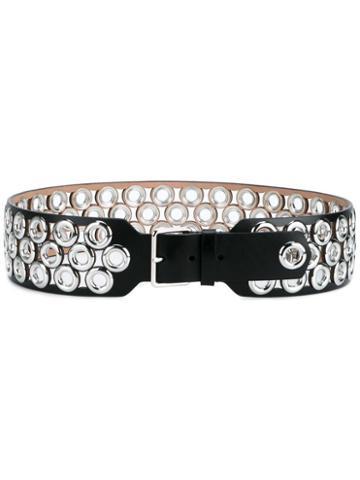 Alaïa Wide Eyelet Belt, Women's, Size: 80, Black, Leather/metal