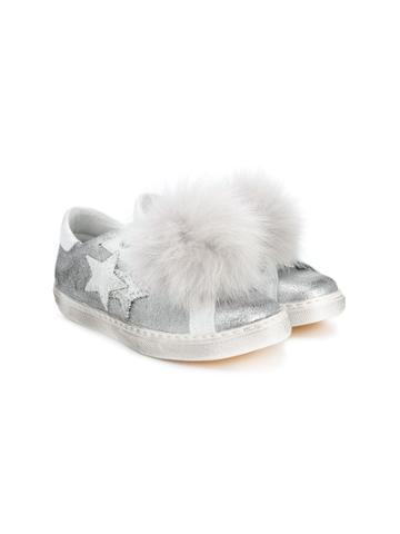 2 Star Kids Teen Pompom Sneakers - Grey