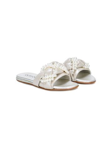 Quis Quis Pearl Embellished Sandals - Metallic
