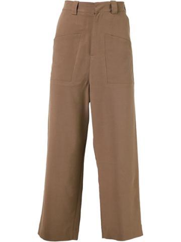 Agi & Sam Wide Leg Trousers, Men's, Size: Small, Brown, Wool