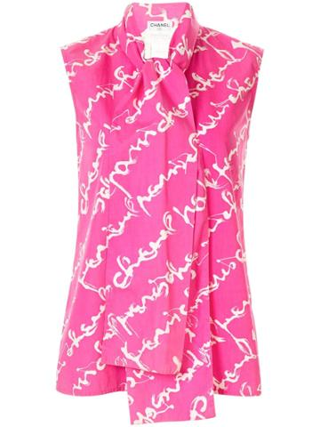 Chanel Pre-owned Cursive Logo Print Pussy Bow Blouse - Pink
