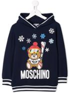 Moschino Kids Teen Winter Bear Hoodie - Blue