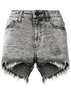 One Teaspoon Frayed Mini Denim Shorts - Grey