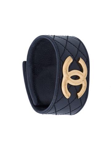 Chanel Vintage Quilted Logo Bracelet - Black