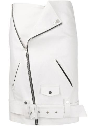 Zilver Biker Midi Skirt - White