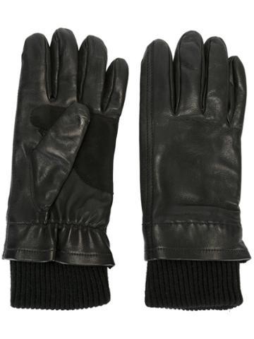 Ami Alexandre Mattiussi - Knitted Cuff Gloves - Men - Lamb Skin/wool - 10, Black, Lamb Skin/wool