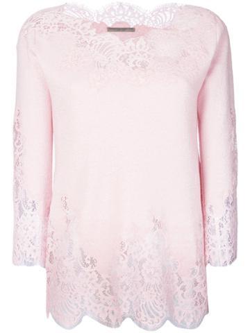 Ermanno Scervino - Lace Trim Sweatshirt - Women - Wool/cashmere/silk/polyamide - 44, Pink/purple, Wool/cashmere/silk/polyamide