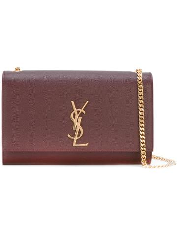 Saint Laurent Monogram Chain Wallet, Women's, Red, Calf Leather/metal (other)